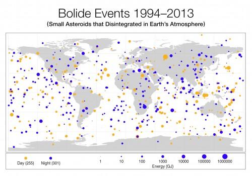 Карта падений метеоритов