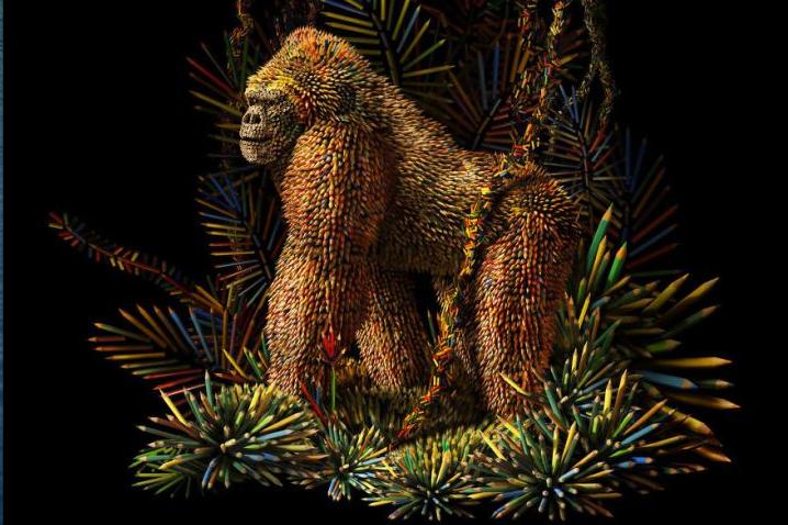 Оригинальная горилла из карандашей