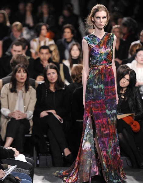 Samantha Cameron, the wife of Britain's PM David Cameron, sits through the Erdem Fall/Winter 2011 collection at London Fashion Week