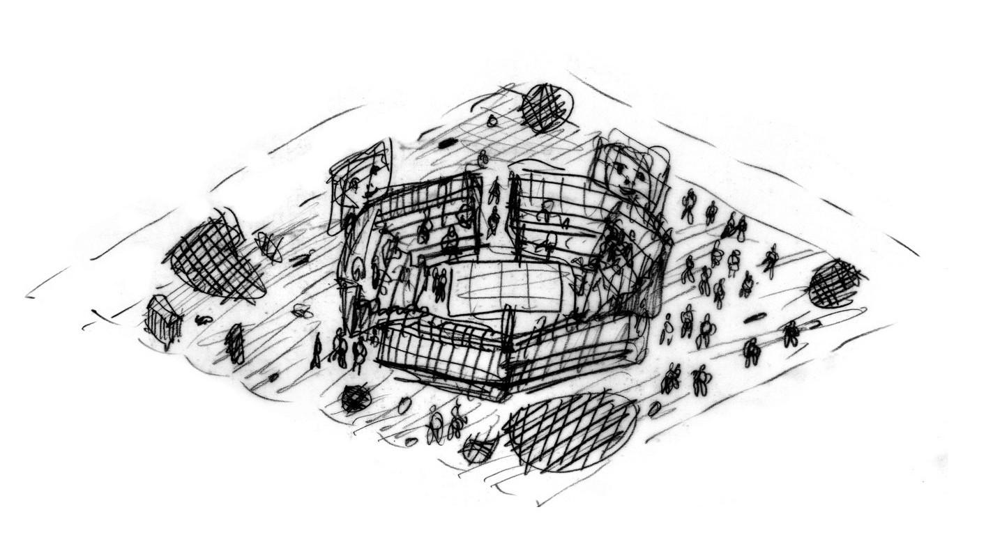 Дизайн зарисовка проекта офиса De Lucchi