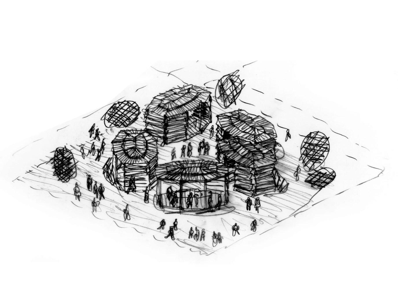 Лаборатория зарисовка проекта офиса De Lucchi