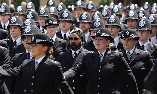 Metropolitan police officers in passing out parade