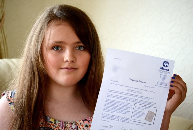 Nicole Bar, a 12-year-old schoolgirl has scored a whopping 162 in a Mensa IQ tes