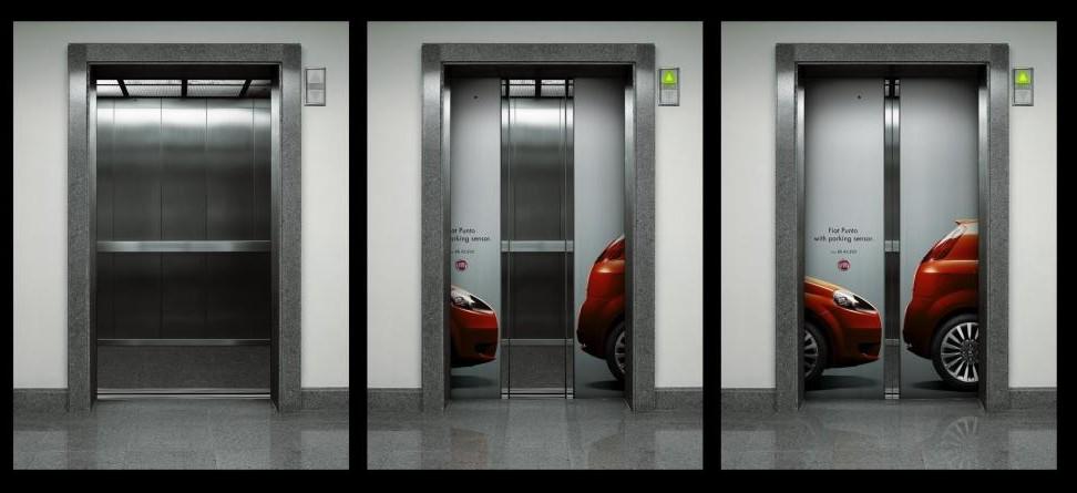 рекламный креатив на лифтах