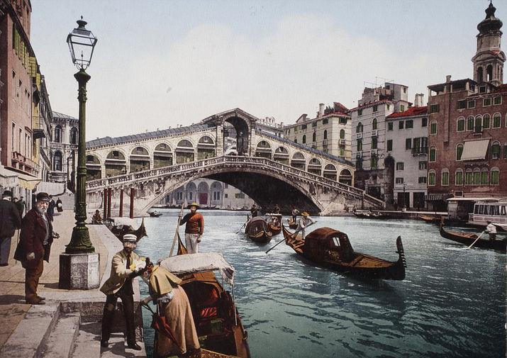 Восстановленный цвет - Мост Риальто в Венеции, 1895