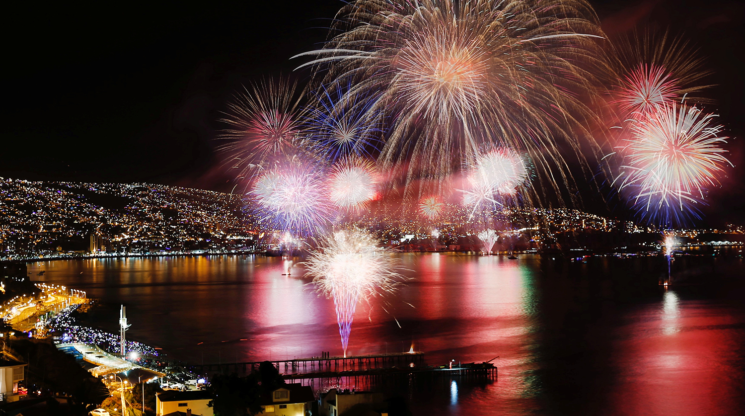 Fireworks explode during a pyrotechnic show to celebrate the new year in the coastal city of Valparaiso.