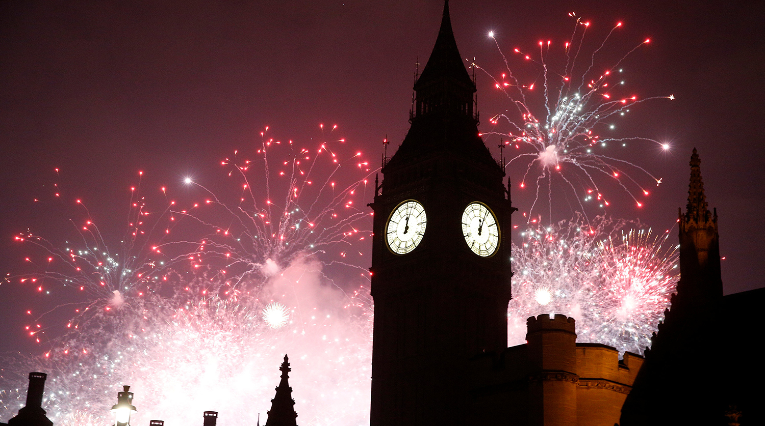 Fireworks explode by the Big Ben clocktower in London