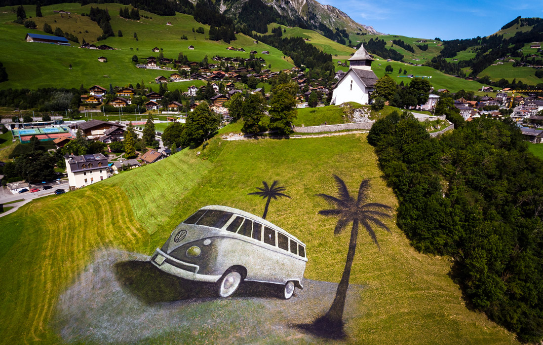 Картина на склонах швейцарских альп