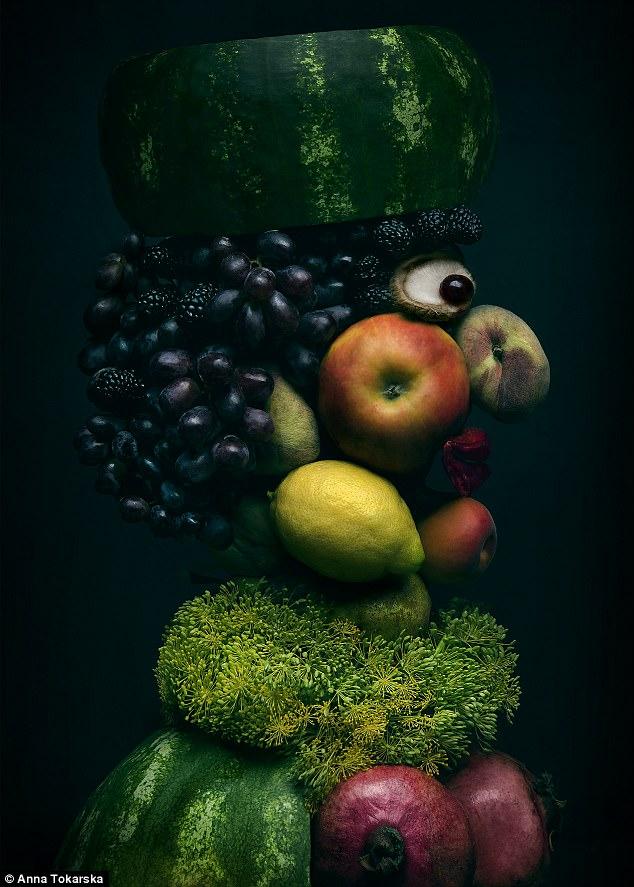 оригинальные портреты из овощей и фруктов