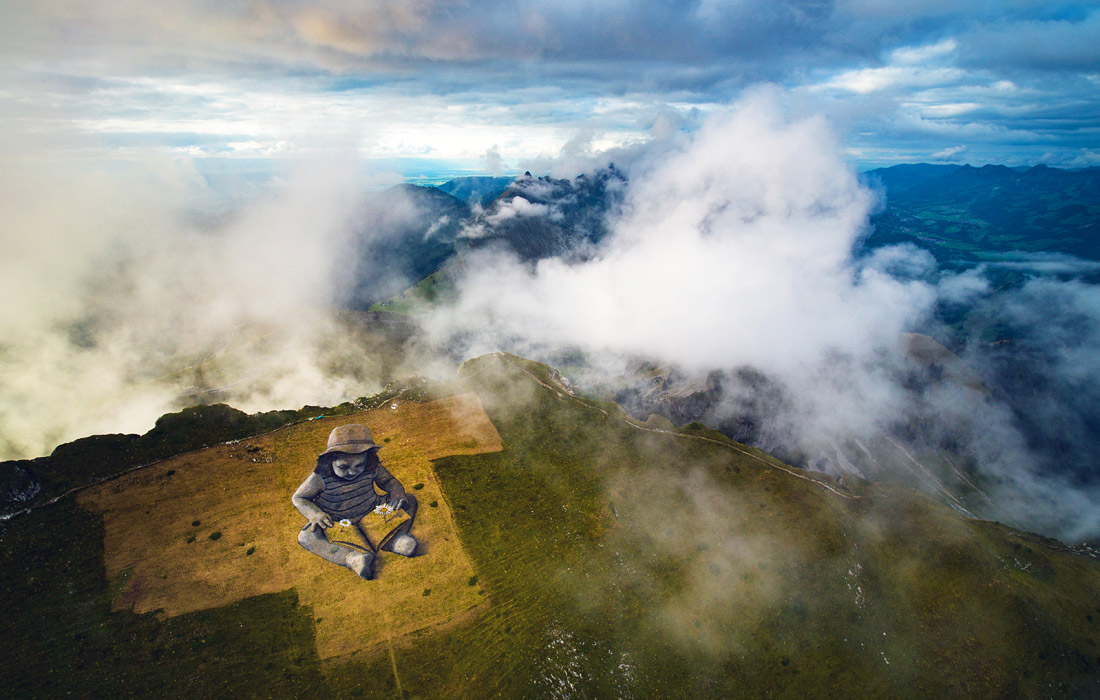 После стен худоджники перешли на горы -  Картина на склоне Швейцарских гор