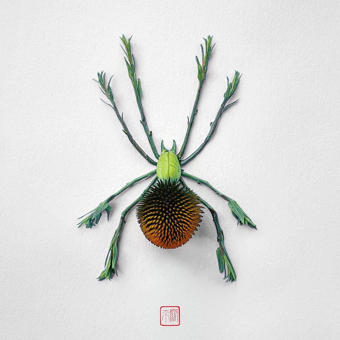 насекомые из цветов от Раку Иноуэ