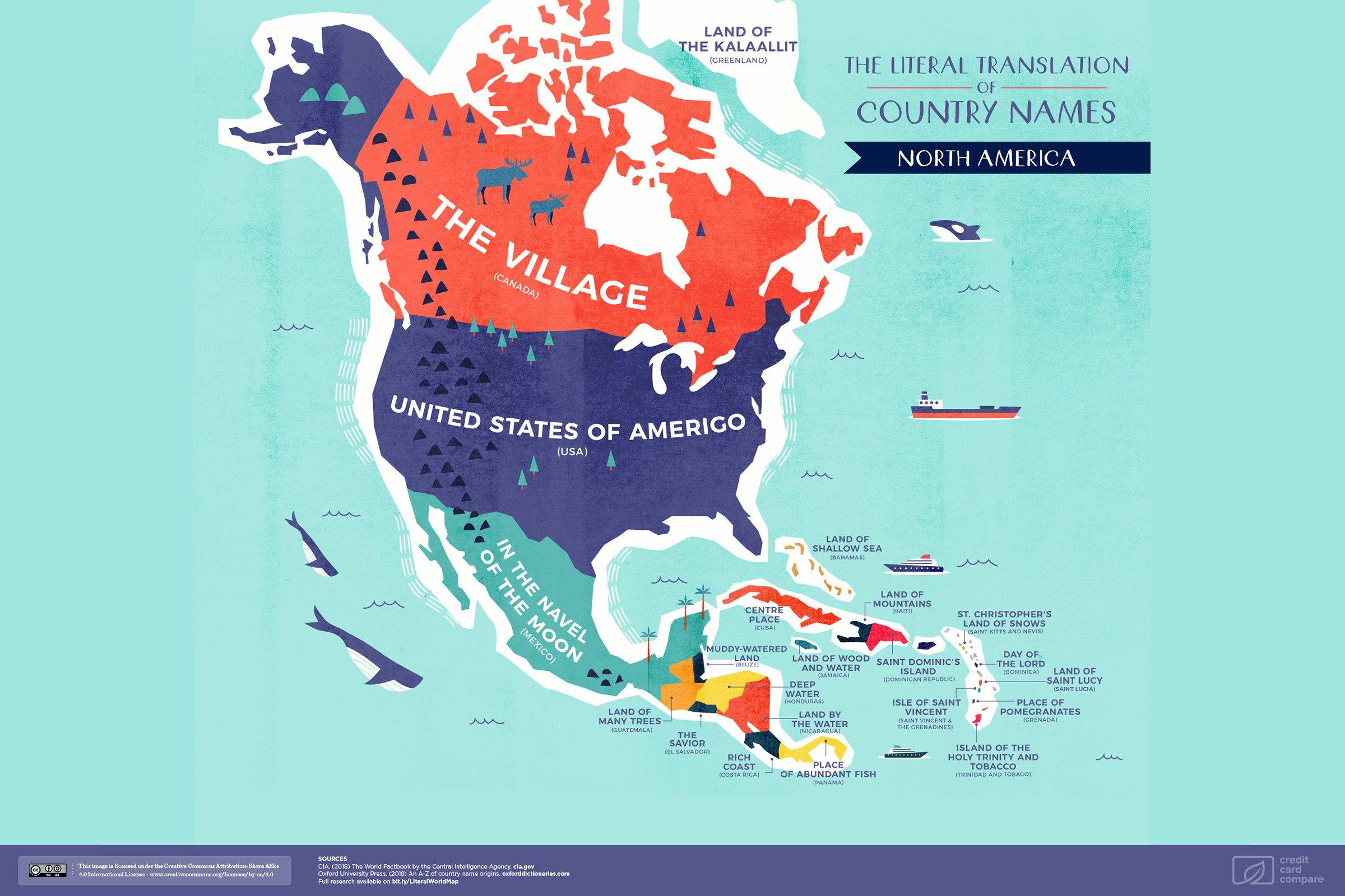 реальная карта Северной Америки
