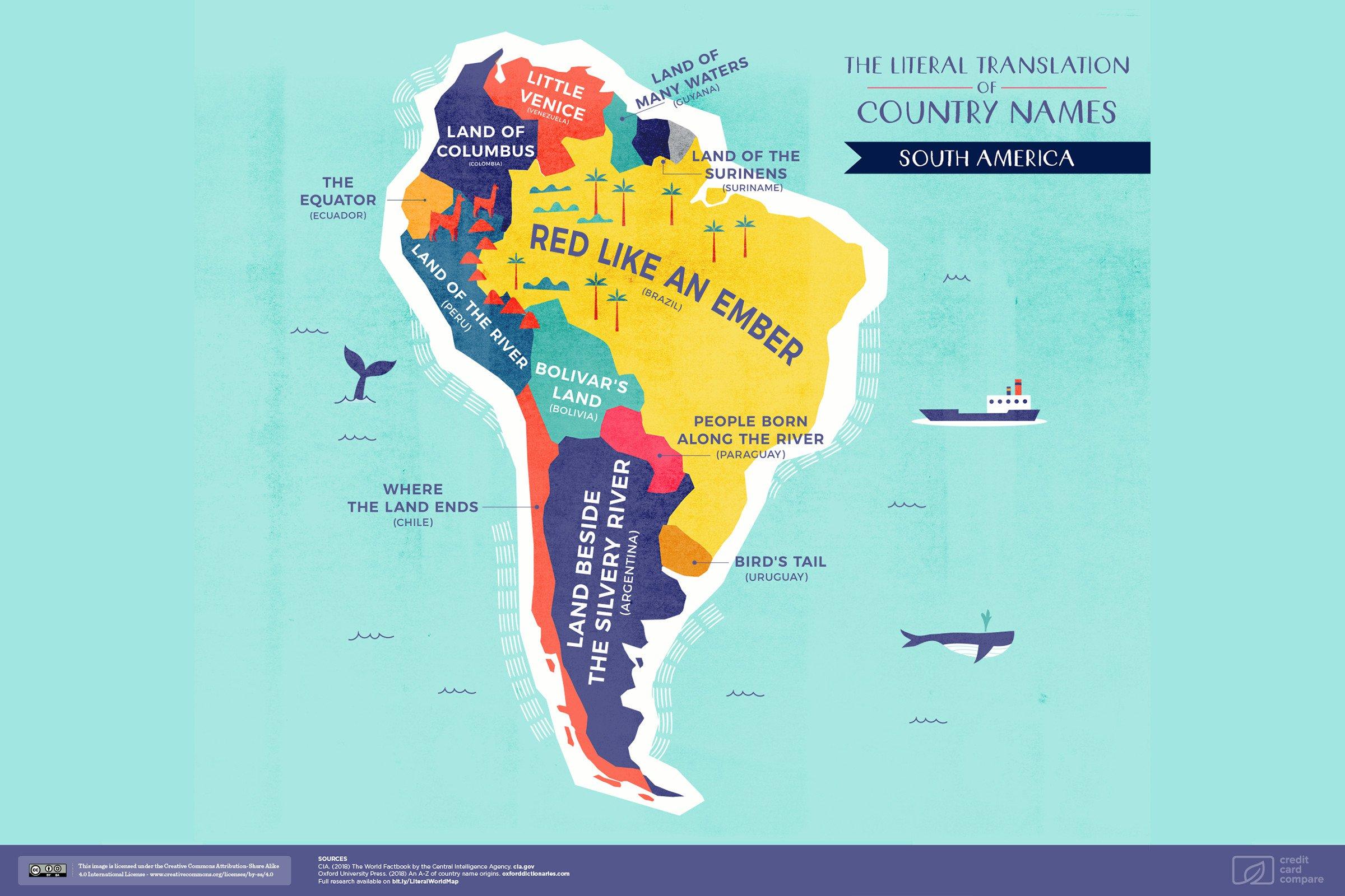 реальная карта Южной Америки