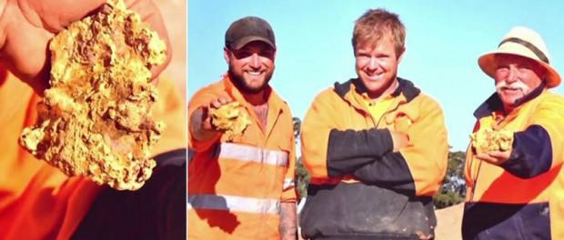 Австралийцы раскопали пару гигантских золотых самородков